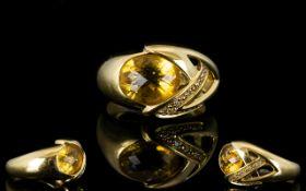 Nina Ricci - Fashion 18ct Gold Citrine and Diamond Set Dress Ring,