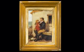 William F Hardy Oil Canvas 'Grandfathers Pet' Signed to bottom right, Gilt swept frame,