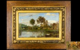 Charles - François Daubigny (French 1817 - 1878) Oil On Board Untitled River Scene.