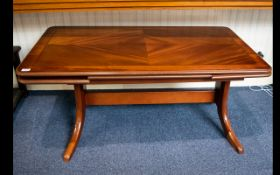 German Metamorphic Table - Converts From Coffee Table To Dining Table. 1980's. Good Condition.