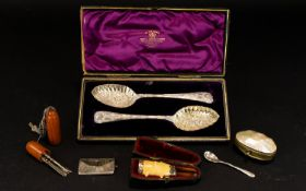 Antique Plated Berry Spoons Housed in or