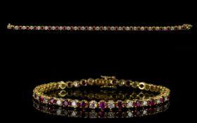 18ct Gold Diamond Tennis Bracelet Set wi