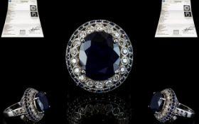 14ct Solid White Gold Sapphire and Diamo