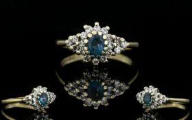 Ladies 9ct Gold Diamond and Sapphire Clu