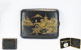 Japanese Damascene Cigarette Case, Gilt