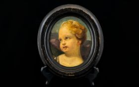18thC Painting On Oval Panel, Depicting