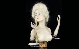 German Chalkware Half Boudoir Doll Bottl