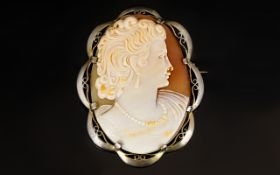 Antique Period Silver Gilt Mounted Large