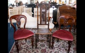 A Pair of Balloon Back Hall Chairs, each