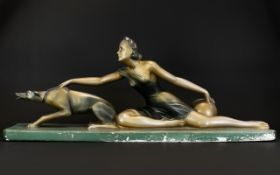 Art Deco French Plaster Figure Group A l