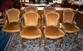 Six Dining Chairs of Gold Colour, Velvet