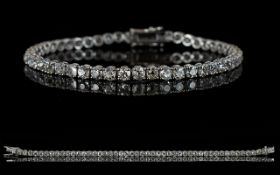 18ct White Gold Diamond Tennis Bracelet,