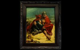 Original Oil On Canvas Signed S. Meilin 1854 Stuck on Board - Depicting Soldiers of the Napoleonic
