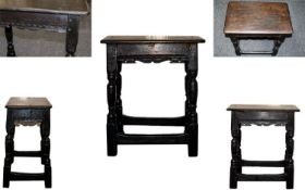 17th Century Charles I Oak Joint Stool of Good Proportions with Peg - Joined Construction Twin Plank