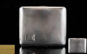George V - Superior Quality Bright Cut Silver Gents Cigarette Case with Gilt Interior of Nice