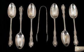 George V Good Quality Set of Six Silver Teaspoons with Matching Sugar Nips, Original Case / Box.