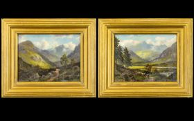 Alfred Dunnington - British 19th Century Artist 1868 - 1920 - A Very Fine Pair of Oils on Panel.