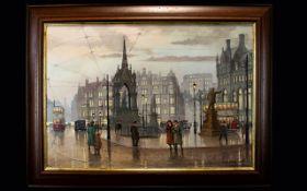 Steven Scholes 1952 - British Artist - Titled ' Albert Square ' Manchester 1950's,