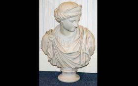 Portrait Bust Of A Roman Woman - Height 30 Inches. Resin Formed To Look Like Carved Marble.