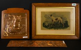 A Small Mixed Lot Comprising Arts And Crafts style copper plaque depicting a long boat in full sail,