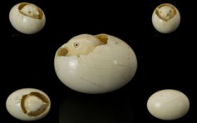 Japanese - Small Well Carved Ivory Miniature Figure Of A Young Chick Hatching From A Cracked Egg.