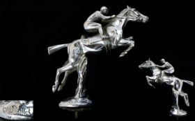 1930s Charles Paillet designed chrome plated car mascot in the form of a jumping horse and jockey,