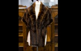Dark Brown Vintage Mink Stole, fully lined.