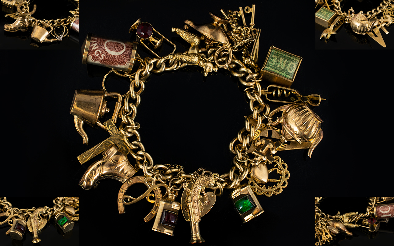 Lot 35 - Wonderful 9ct Gold Vintage Charm Bracelet Loaded with 22 Top Quality 9ct Gold Charms.