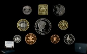Royal Mint 1999 United Kingdom Proof Coin Collection 10 coins, all struck to proof quality.