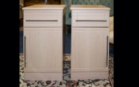Two Modern Limed Oak Bedside Cabinets Each with drawer and cupboard.