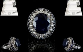 14ct Solid White Gold Sapphire and Diamond Cluster Ring of Impressive Appearance,