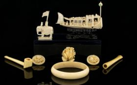 A Small Collection of Antique Period Carved Ivory Pieces ( 8 ) Pieces In Total.