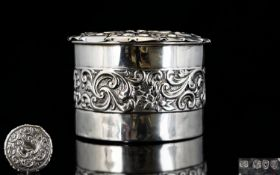 Victorian Period Nice Quality and Decorative Silver Circular Lidded Trinket Box, Both Cover and