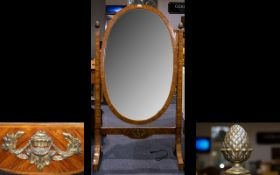 A Satinwood Art Deco Style Cheval Mirror Of large proportions,