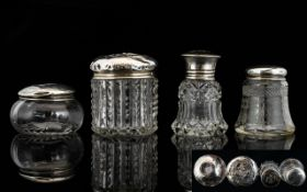 Antique Period Collection of Silver Topped / Glass Pin Jars, Perfume Bottle.