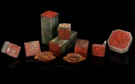 A Collection of Chinese 19th Century Seals - Six ( 7 ) In Total - Includes 1 that Is Broken + Two