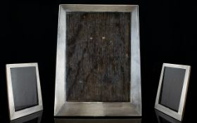 Art Deco Period Silver Photo Frame of Tapered Form, Polished Wooden Back.