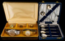 A Mixed Lot Of Watches And Plated Items Comprising six boxed coffee spoons,