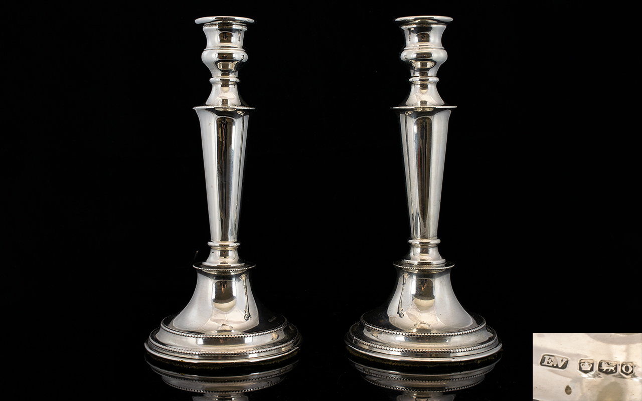 Lot 8 - Art Deco Period Pair of Nice Quality and Well Formed Silver Candlesticks with tapered columns