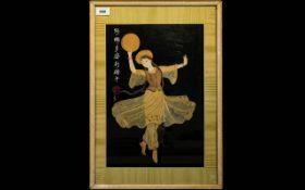Oriental Framed Collage Depicting female dancer in traditional dress.