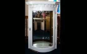 A Vintage Glazed Wall Vitrine White painted wall mounted unit with moulded cornice and glazed