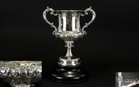 Victorian Period Superb Quality Solid Silver Twin Handle Pedestal Trophy Cup, of Wonderful