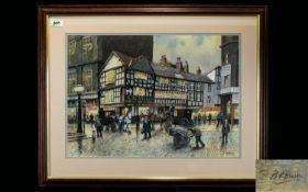 Tom Brown (British B. 1933 -) Original Chalk Pastel On Paper 'The Old Shambles Manchester' Framed