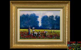 Lawrence 'Larry' Rushton (British 1919-1994) Oil On Board Depicting a group of figures in poppy