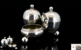 Late Victorian Period Nice Quality 3 Piece Novelty Silver Cruet Set with Integral Stand,