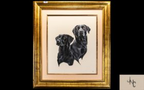 John Clarke Original Acrylic On Card Monogrammed to lower right, depicting two black Labradors,