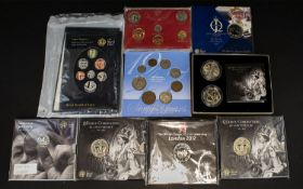 Royal Mint Issued Collection of Coin Sets and Single Coin Sets ( 9 ) Nine Sets In Total. Comprises