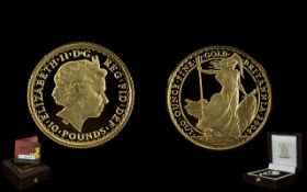 Royal Mint Limited and Numbered Edition Britannia 2004 Gold Proof Ten Pound Coin 1/10 th oz of fine