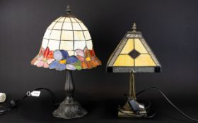 Two Tiffany Style Stained Glass Short Table Lamps Each raised on reproduction art nouveau cast