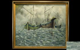Original Oil On Canvas Depicting a seascape with two anchored boats. Signed to bottom left, Carl